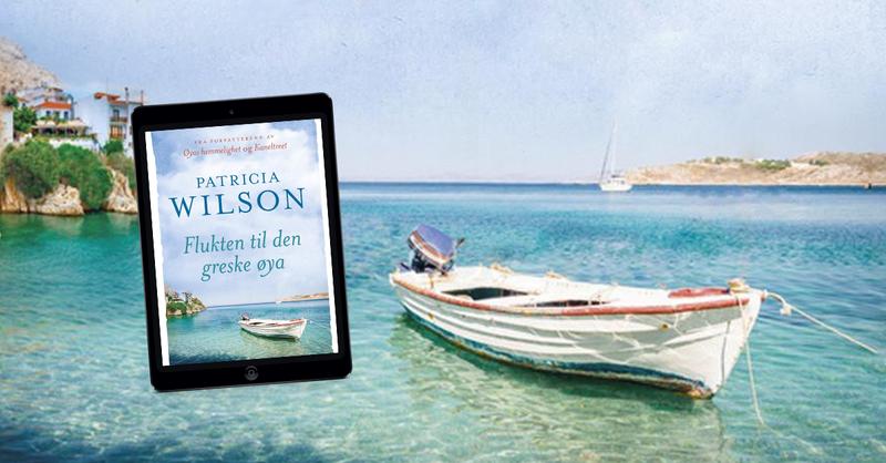 ipad med bokomslag for boken Flukten til den greske øya. bakgrunnsbildet av en liten jolle som hviler i vannkanten på Kreta i Hellas