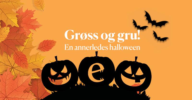 Toppbanner med bilde av løv, gresskar og flaggermus. Tekst: Grøss og gru - en annerledes halloween