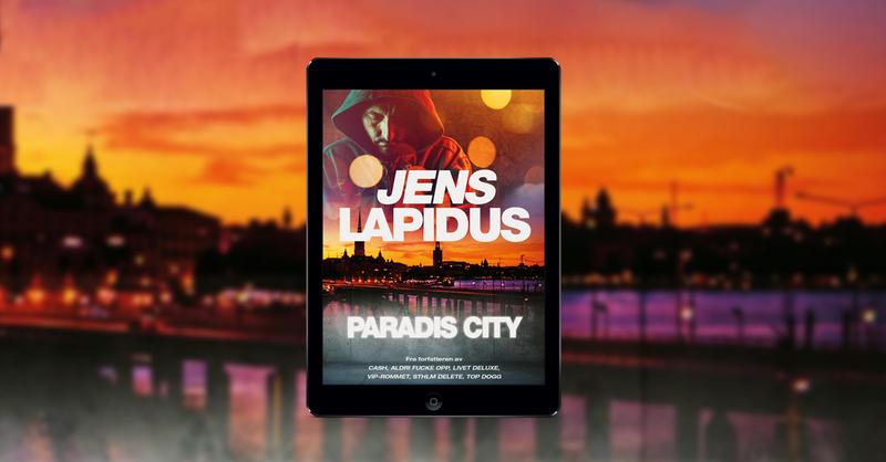 En iPad med omslaget til Jens Lapidus' nye bok Paradis City med et bybilde i solnedgang som bakgrunn
