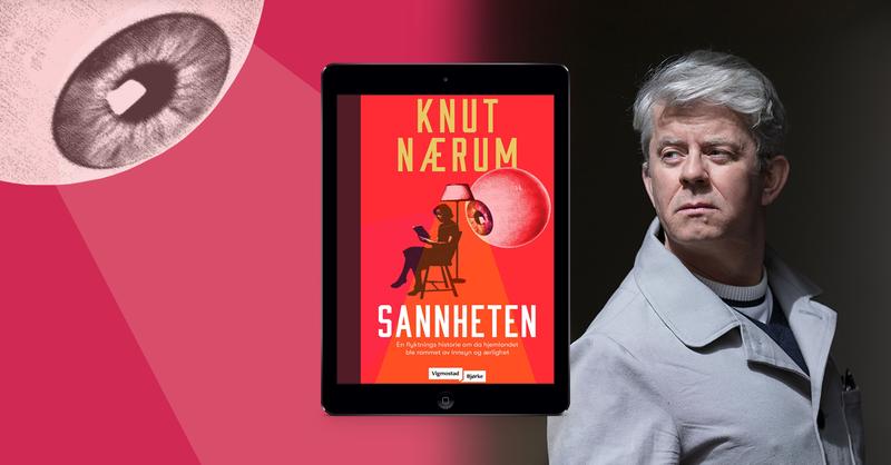 Bilde av forfatter Knut Nærum og boken hans Sannheten