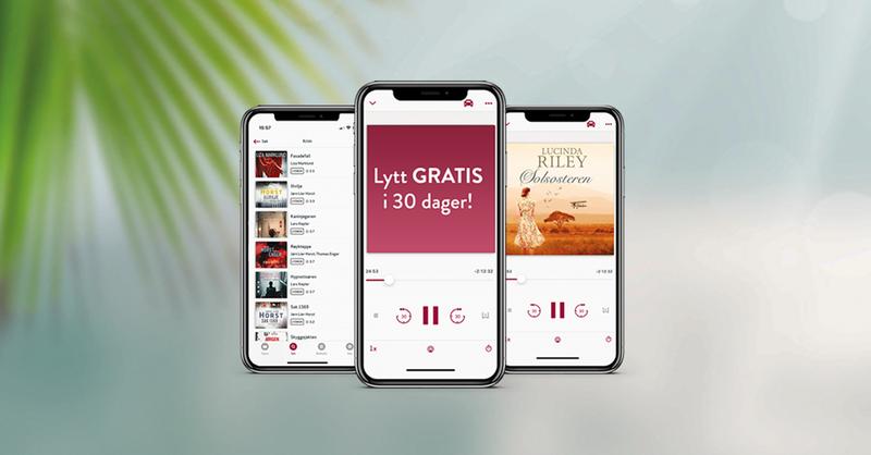 Banner med bilde av tre iphones med ebok.no-appen åpen, og teksten